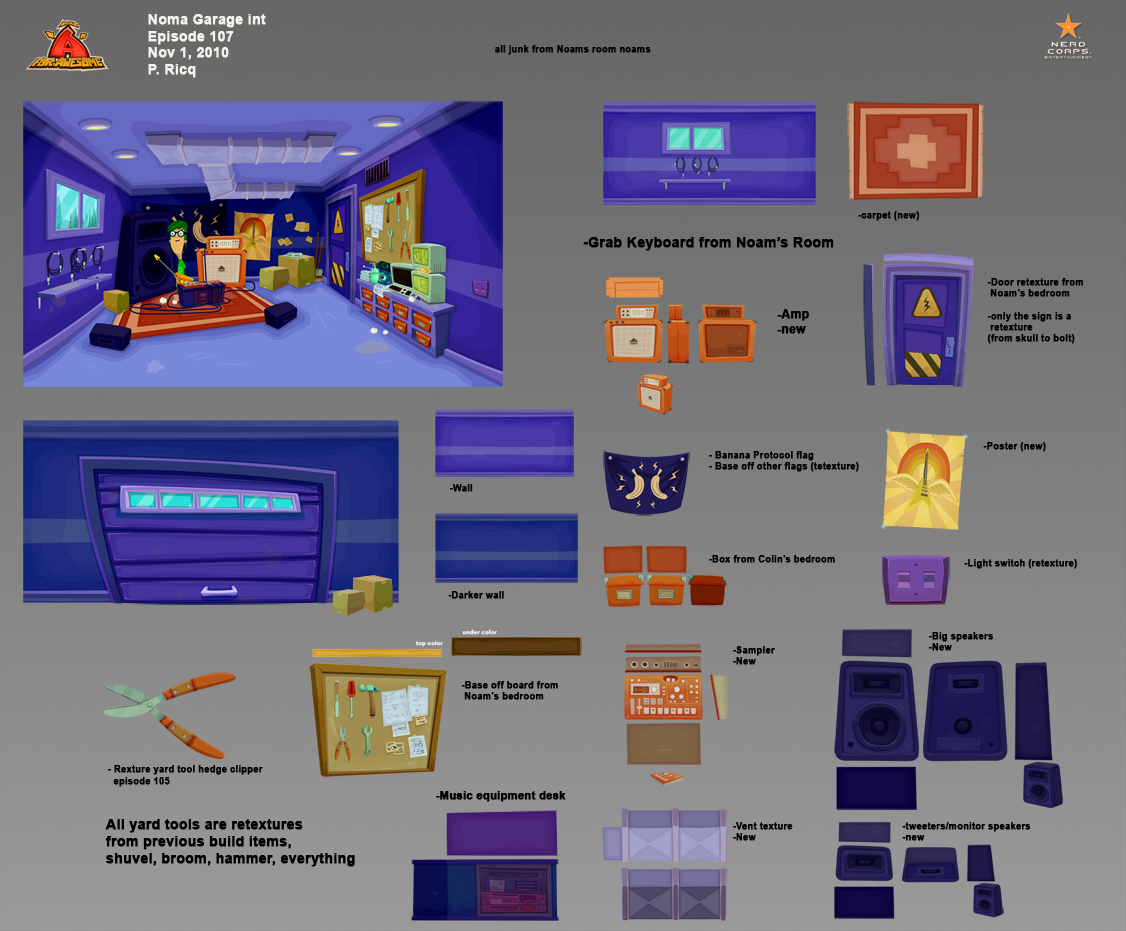 Noam Garage int - I made this the ultimate 14 year old Peter Ricq garage, except for the purple.