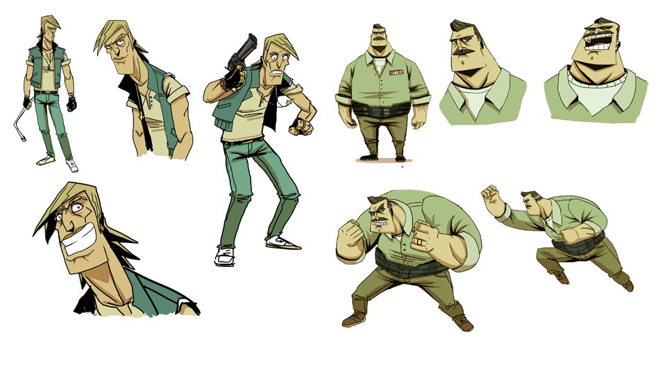These are designs for a Spike TV animated Zombie show. They wanted a guy to look like Mick Jagger / Iggy pop and the other like John Goodman in the DUDE movie. Everyone in the studio liked them but the main producer. Too bad.