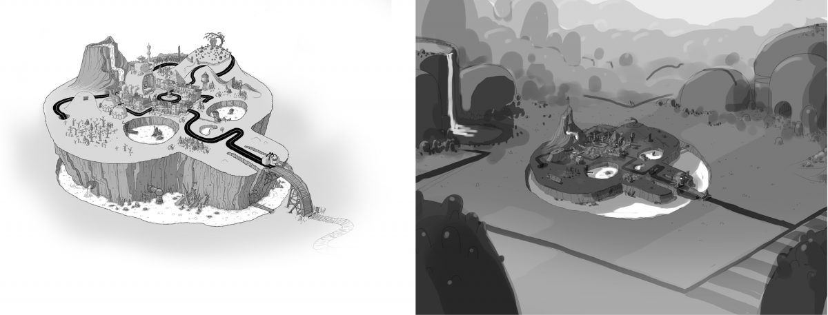 Freaktown Sketches - Here are the first designs of Freaktown from a distance.